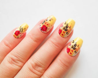 Floral Nails, Flower Nails, Fake Nails, Asian Flowers, False Nails, Acrylic Nails, 24 Set Nails, Vintage Flowers, Vintage Floral
