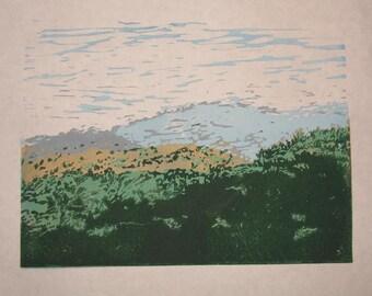 Mountains, landscape view linocut reduction print