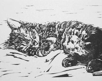 Sleeping Kitten linocut relief print Cat