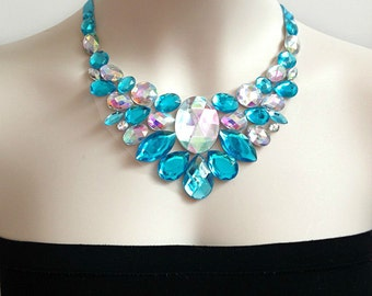 aqua blue and aurora borealis bib necklace, wedding, bridesmaids necklace