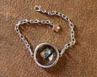 Glass Floating Locket Bracelet with Custom Charm