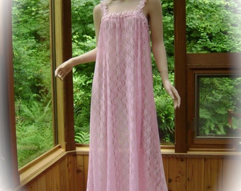 Nightgown in Pink Floral Stretch Mesh with Pink Venice Lace Trim