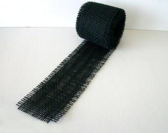 Black Burlap Ribbon 2.5 Inch Hand Cut Ribbon Rustic Wedding Supplies Jute Burlap Ribbon 3 yards, 9 ft long, 108 inches