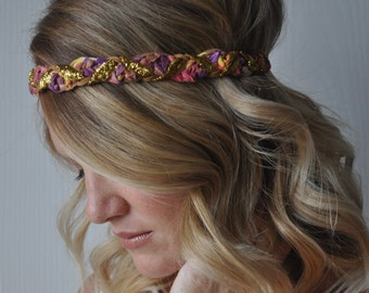 Braided Boho Headband Sparkly Hippie Summer Hair Accessory
