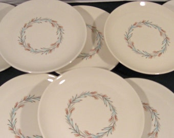 Taylor Smith Taylor Fortune Pattern - Aqua Gray Rust Bread and Butter Dessert Plates - Mid Century - Set of 4