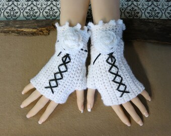 Crochet Fingerless Gloves, White Corset Wool Gloves, Arm Warmers, Gothic Gloves, White Black Burlesque Wrist Gloves, Australia