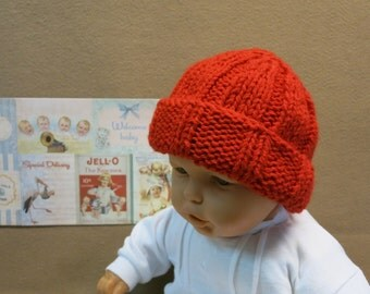 Knitted Baby Hat, Red Baby Beanie, Chunky Wool Hat, Photo Prop, Mens, Women Beanie, Baby Shower Gift, Nchanted Gifts