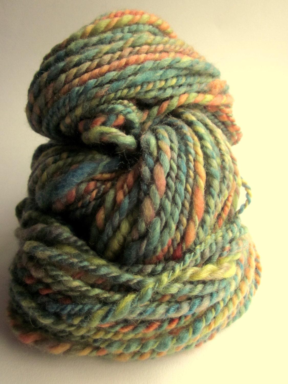 Knitting Handspun Wool : Handspun chunky knitting yarn wool yards petrol and