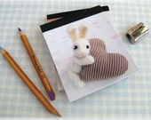 Bunny Pocket Notebook Rabbit with Heart Small Notepad Pocket-Sized Jotter Lined Pad