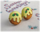 Christmas Pudding Earrings Button Studs Post Earring Pair Xmas Jewellery Festive Printed Fabric Covered Illustrated