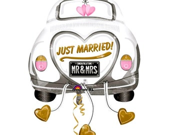 "JUST MARRIED Getaway car shaped 31""  Oversized Foil Balloon, Self Sealing, Wedding, Car, Direction Sign, Door,Table Decor DIY party Supplies"