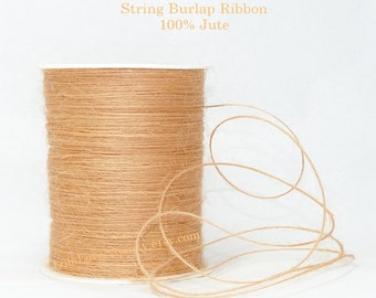 String BURLAP RIBBON in soft Orange-Peach /10 Yards 100%Jute String Perfect Fiber for Card making-Scrapbooking- Wedding Crafts -Wreaths-Gift