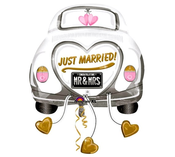 Just married getaway car shaped 31 oversized foil balloon for Just married dekoration