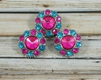 5 Rhinestone Buttons Hot Pink and Turquoise Rhinestones - 21mm Acrylic - Set of 5 - DIY Headband Hair Supplies