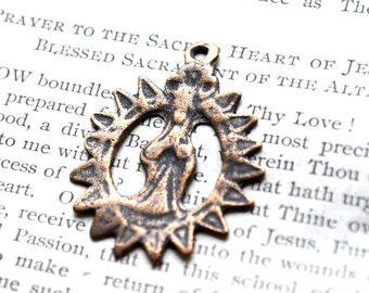 Radiant Sun - Our Lady Medal - Bronze or Sterling Silver - Vintage Medal Replica - Central America (M113-219)