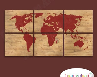 Pastel watercolor flower world map poster printable digital red silhouette world map print with timber style background 6 panels with the wood gumiabroncs Gallery