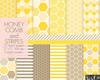Yellow honeycomb digital paper. Bright yellow and brown honeycomb and stripes. Birthday decoration, wrapping, cards, scrapbooking.