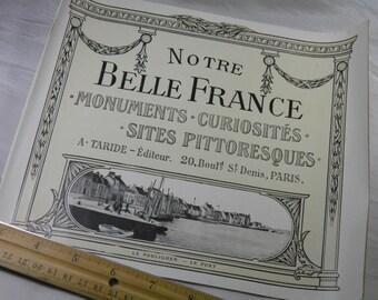 WWI Soldier Souvenir  - French Tourist Sights Booklet # 7 - Notre Belle France