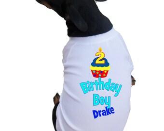 Birthday Boy Dog Shirts with Cute Cupcake