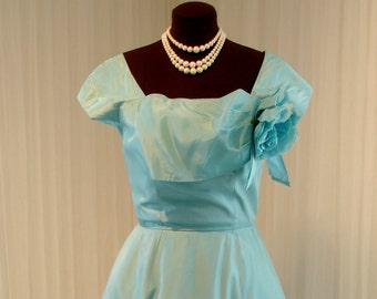 "1950 Teal Aqua Blue Emma Domb Taffeta Rockabilly Swing Dress 37"" Bust"