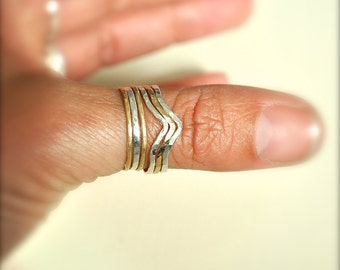 Chevron Hammered stacking rings, silver, gold, chevron, delicate