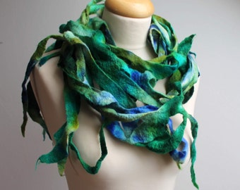 Felted Boa Shawl Fringe Scarf Lariat Sky Blue Cobalt Ultramarine Mint Teal Wool Hand Dyed Winter Accessory Extra Long