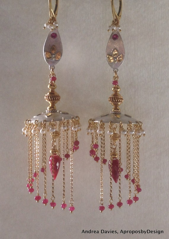 Ruby jhumka earrings ~ beautify themselves with earrings
