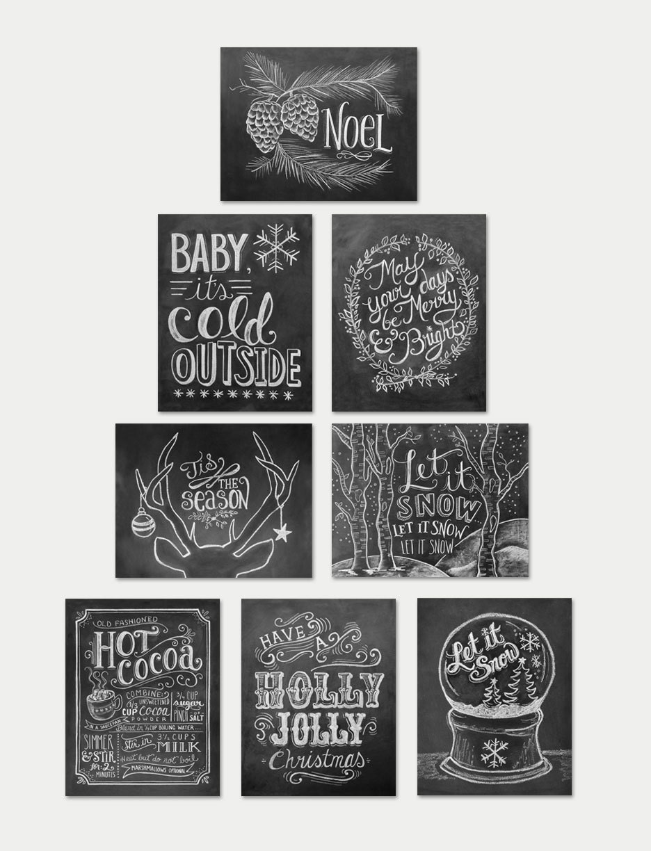 Assorted christmas cards chalkboard cards christmas note for Chalkboard christmas cards