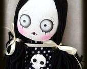 Varekina handmade spooky gothic / zombie art cloth doll with skull and ballerina tutu
