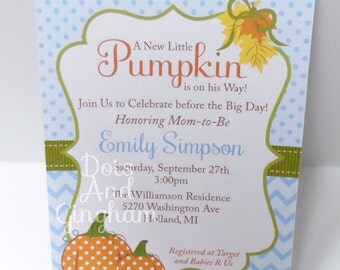 Pumpkin Baby Shower Invitation-Fall Baby Shower Invitation-Pumpkin Baby Shower Invite-Fall Baby Shower Invite-Little Pumpkin Invitation-Fall