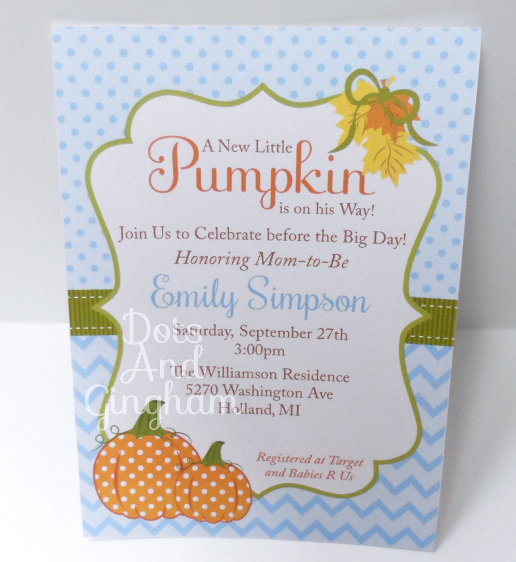 pumpkin baby shower invitation fall baby shower by dotsandgingham