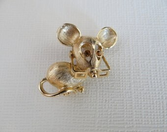 Adorable Avon Gold Tone Mouse Brooch with Yellow Rhinestone Eyes and Spectacles - Soooo Cute