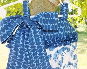 Blue Lobster Girl's Capri Romper Size 3/4