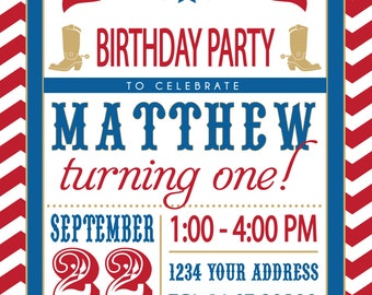 COWGIRL or COWBOY PARTY invitation