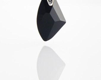 Black Necklace - Jet Swarovski Crystal Pendant - Black Swarovski multifaceted crystal pendant on Sterling Silver 925