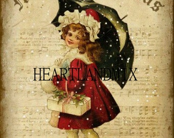 Xmas Girl with Umbrella and Sheet Music Digital Image