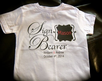 Personalized SIGN BEARER  t-shirt or onesie wedding getting married bride groom