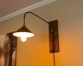 set of 2 rustic industrial wall mounted swing arm sconces with metal shade