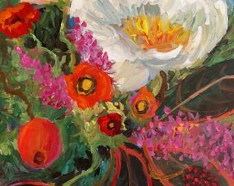 Original abstract floral painting flower original art