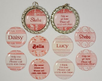 Personalized cat pet name I.D. tag flattened bottle cap double sided cats kittens pink made to order(32)