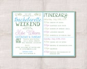 Bachelorette Party Weekend invitation and itinerary custom printable 5x7