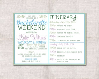 Bachelorette Party Weekend invitation and itinerary custom printable ...