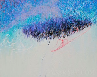 Large Painting, Abstract Blue Painting, Original Acrylic Artwork, Contemporary Art, Figurative Painting Ballerina in Tutu