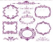 PURPLE Digital Frames Scrapbook Border Clipart Ornate Flourish Vintage Classic Wedding Invitation embellishment Square Rectangle 0656