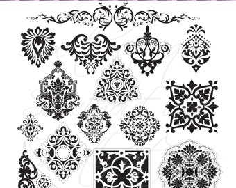 Damask Digital Frames Scrapbook Border Clipart Frame Flourish