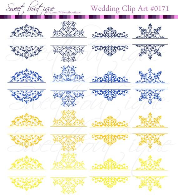 Blue yellow vintage calligraphy clip art clipart diy