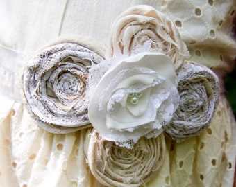 Wedding dress sash belt bridesmaids maternity sash fabric flower ivory cream taupe pearl lace bridal sash photo prop upcycled wedding sash