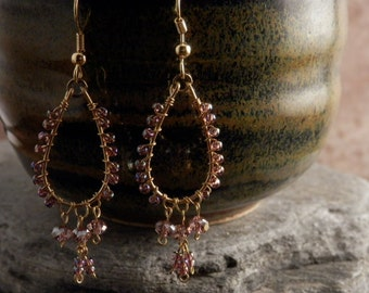 Petite Chandelier Earrings - Purple and Gold - SHIPS FREE within the USA