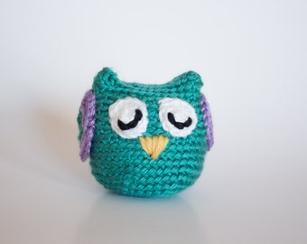 Crocheted Owl - Fun Little Bright Turquoise, Amigurumi Stuffed Animal, Woodland Owl - Perfect for Babies and Toddlers - Fun Stocking Stuffer