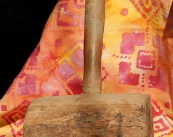 Primitive Wood Hammer - 100 Yrs Old - Wood Mallet - Estate Find